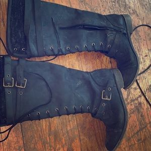 Charcoal black knee high winter boots